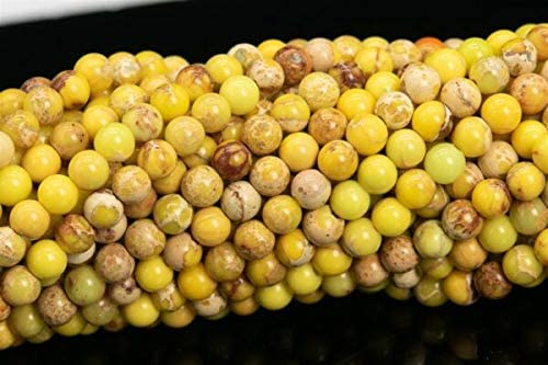 MYNAMI- 3MM Natural Mustard Yellow Sea Sediment Imperial Jasper Beads AAA Round Bead 15