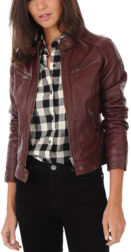Captain Cory Womens Shaded Brown Lambskin Genuine Leather Jacket, Biker Jacket