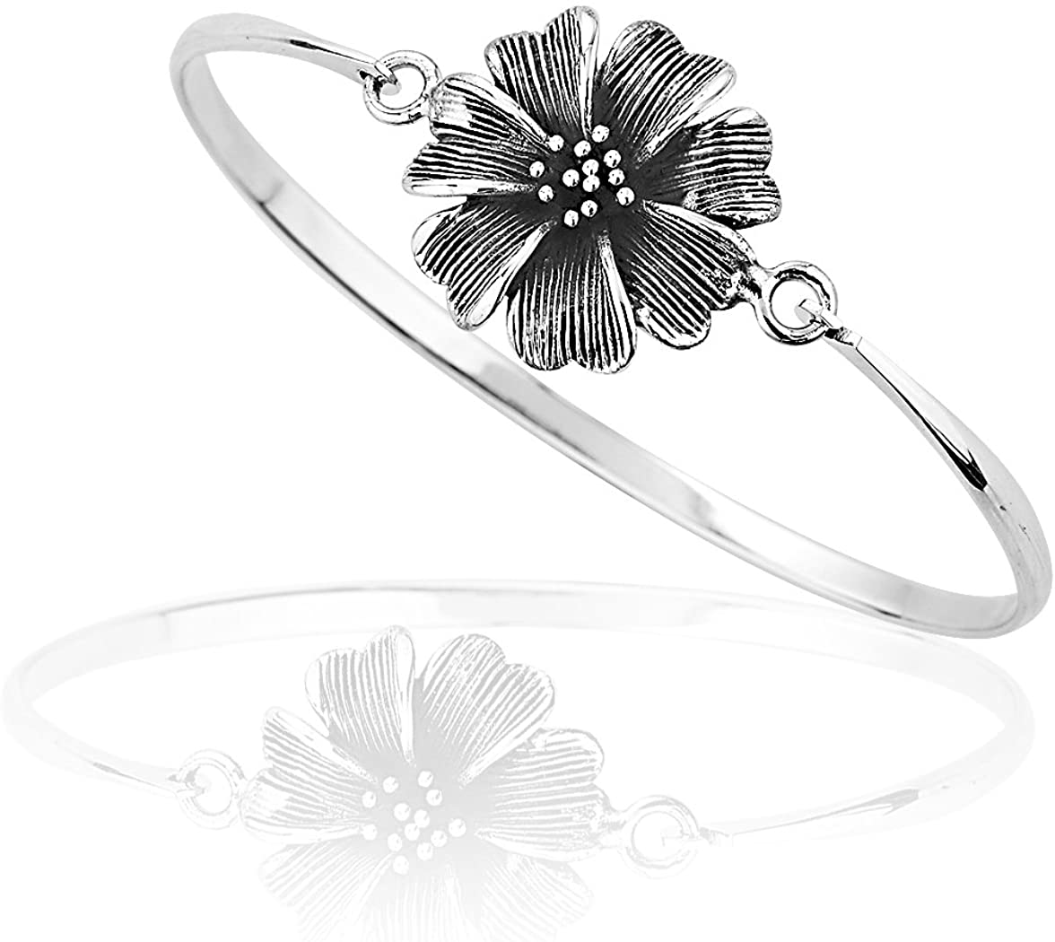 925 Sterling Silver Blooming Flower Petal Wrap Bangle Bracelet