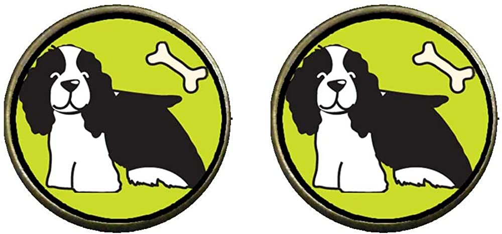 GiftJewelryShop Bronze Retro Style Springer Spaniel Dog Photo Clip On Earrings 14mm Diameter