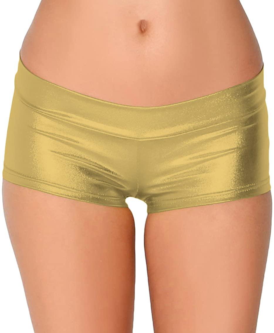 Sheface Women's Shiny Mini Pants Hot Shorts Dancewear (Gold, Kids Large)