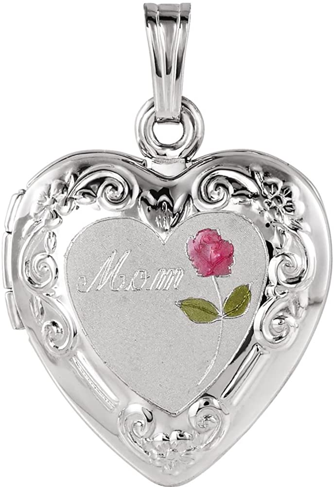 925 Sterling Silver Tri Color Mom Love Heart Shaped Photo Locket Pendant Necklace 19.75x19.75mm Jewelry Gifts for Women