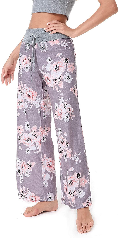 Women Comfy Casual Pajama Pants Floral Print Drawstring Palazzo Lounge Pants Wide Leg Light Grey