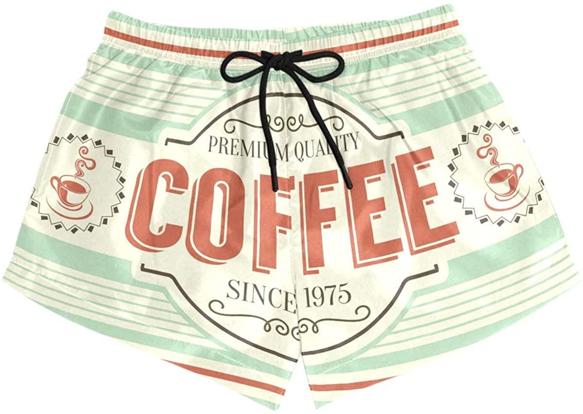MONTOJ Retro Coffee Pattern Women's Board Short Briefs Comfort Quick Dry