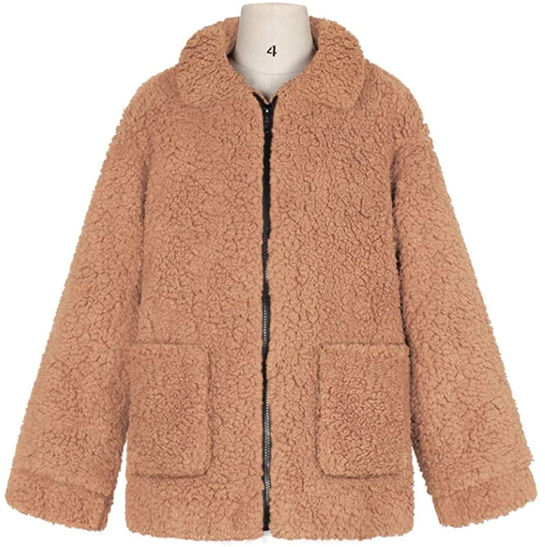 Elegant Faux Fur Overcoat Women Autumn Winter Thick Warm Soft Fleece Jacket Pocket Zipper Outerwear Bear Teddy Coat