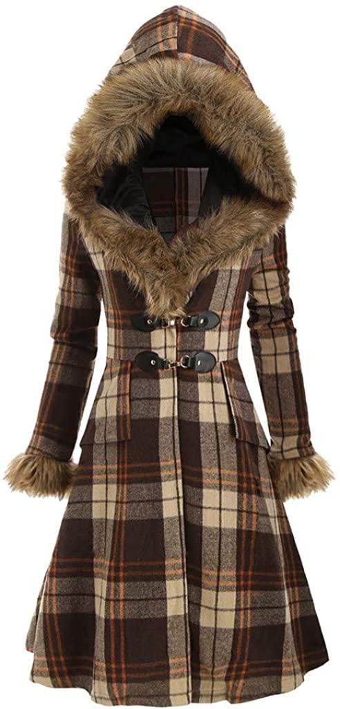 Women's Plaid Stripe Warm Winter Coats Parka Jacket with Faux Fur Hood