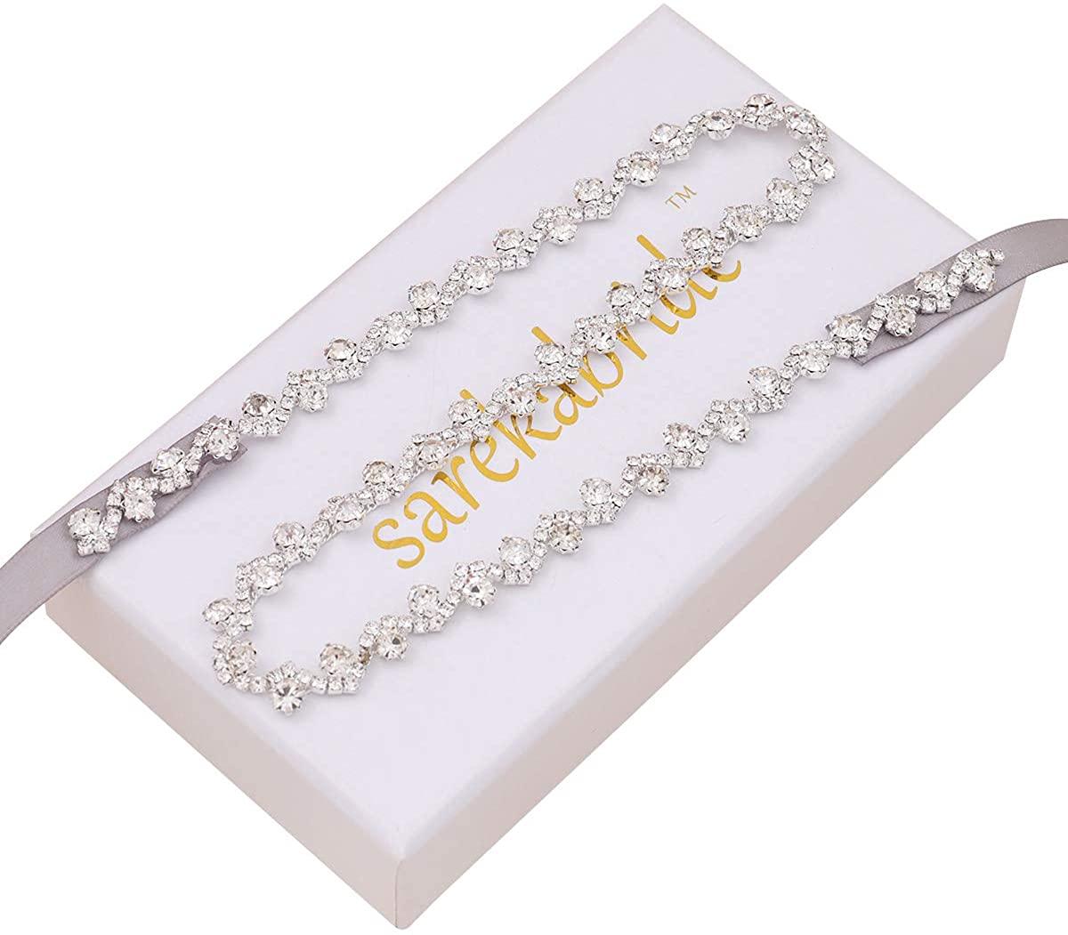 Sarekabride Bridal Belt Rhinestone Wedding Bridesmaid Belt Sashes with Ribbon for Bridal Gown Dress