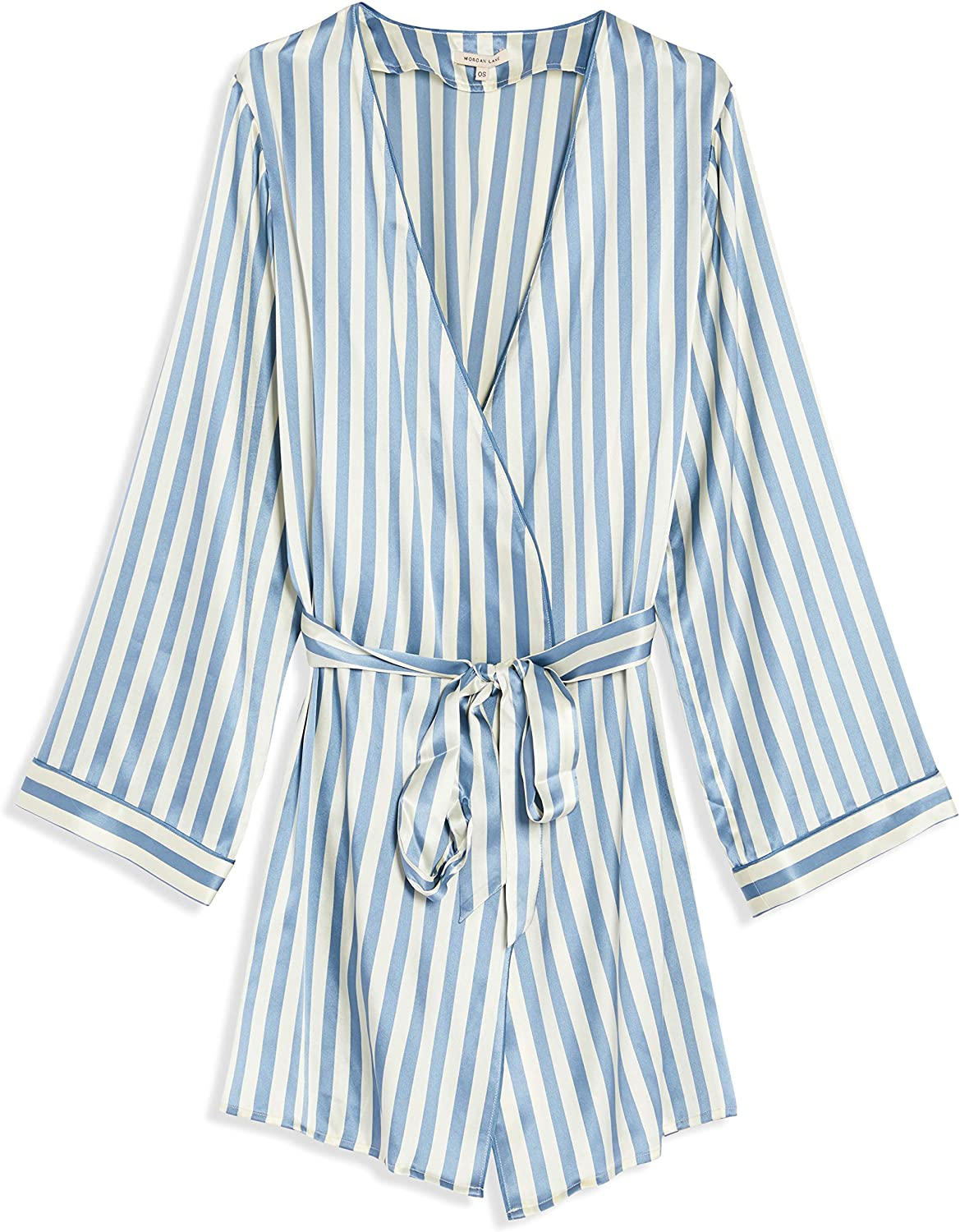 Morgan Lane 'Langley' Robe, Long Sleeve Silk Robe with Pockets and Belt, Solid or Striped Nightwear