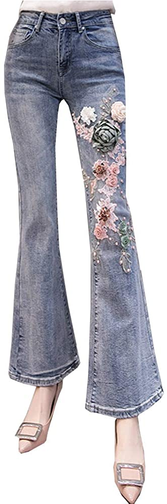 Geurzc Embroidered High Waisted Stretch Slim Skinny Flared Jeans for Women