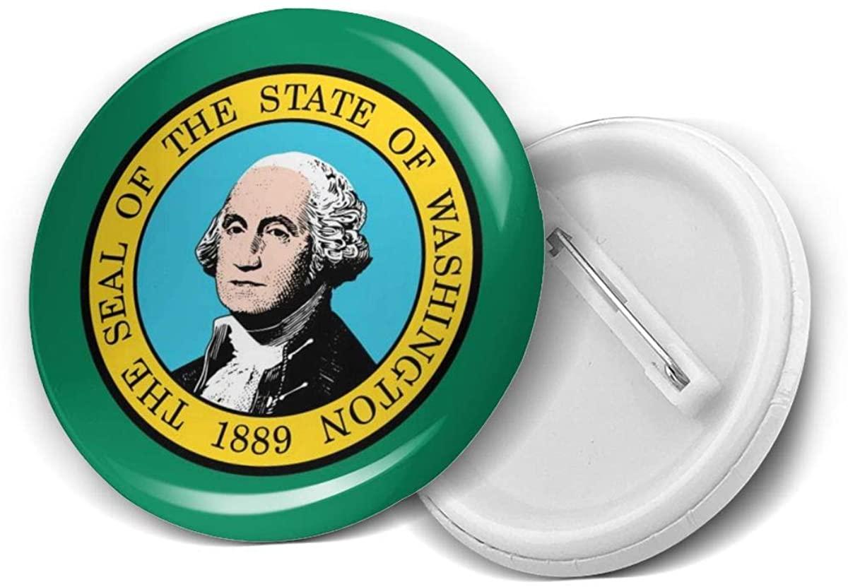 Washington State Flag Round Brooch Badge Pins For Women Men Girls T Shirt Bag Backpacks Hat Accessories