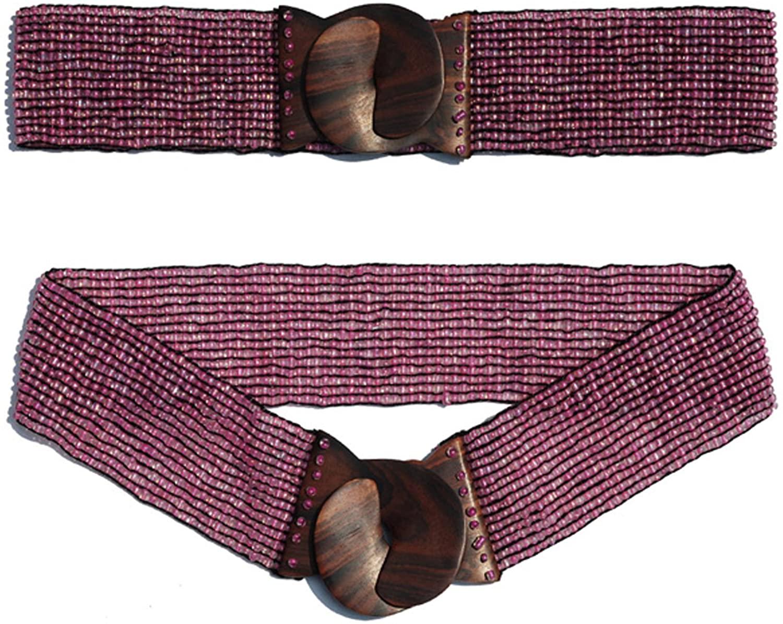 "Translucent Pink Hand-made Elastic Stretchy Beaded Bali Belt w/ Wooden Hook Buckle – 2 1/4"" Wide Belt"