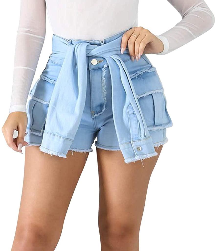 MoonHome Women's Shorts Junior Short Jeans,High Waisted Frayed Raw Lace-up Fringe Denim Short Plus Size