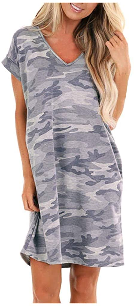 GNYD Womens Summer Casual Short Sleeve Pocket Camos Print Stretch Swing Dresses