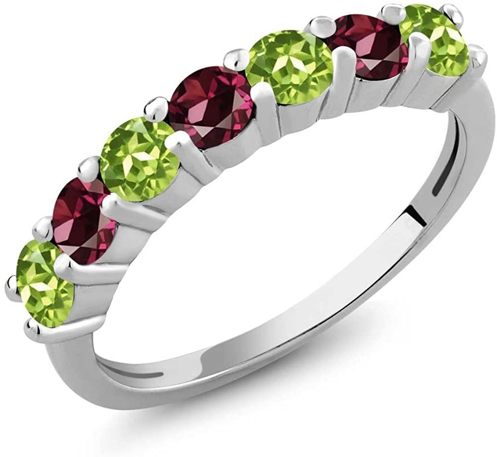 Gem Stone King Green Peridot and Red Rhodolite Garnet 925 Sterling Silver Women's Anniversary Ring (1.38 Ct Round)