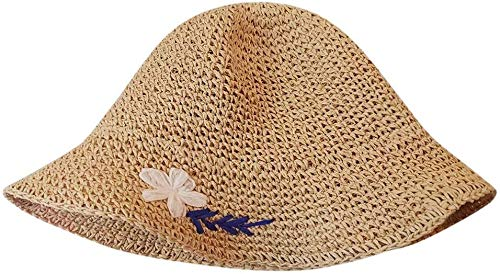 Sun Hats for Women, Ladies Wide Straw Foldable Travel Sun Hat Summer Beach Caps (Color : Beige)
