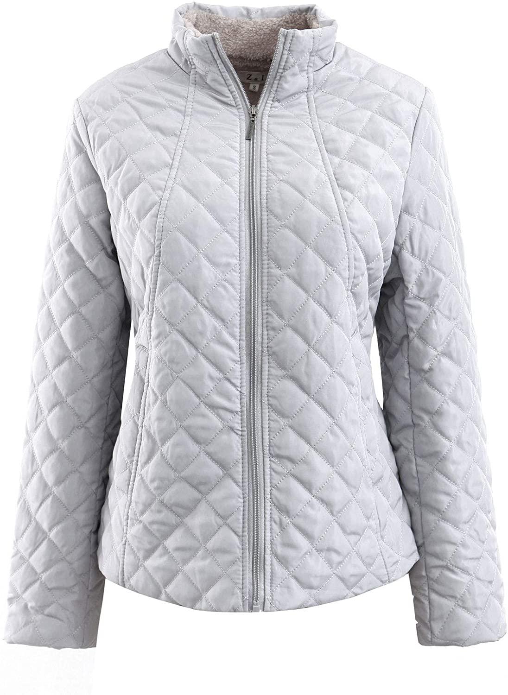 Amormio Women's Classic Full-Zip Slim-Fit Lamb Wool Coat Diamond Lightweight Padded Quilted Jacket Parka Outwear
