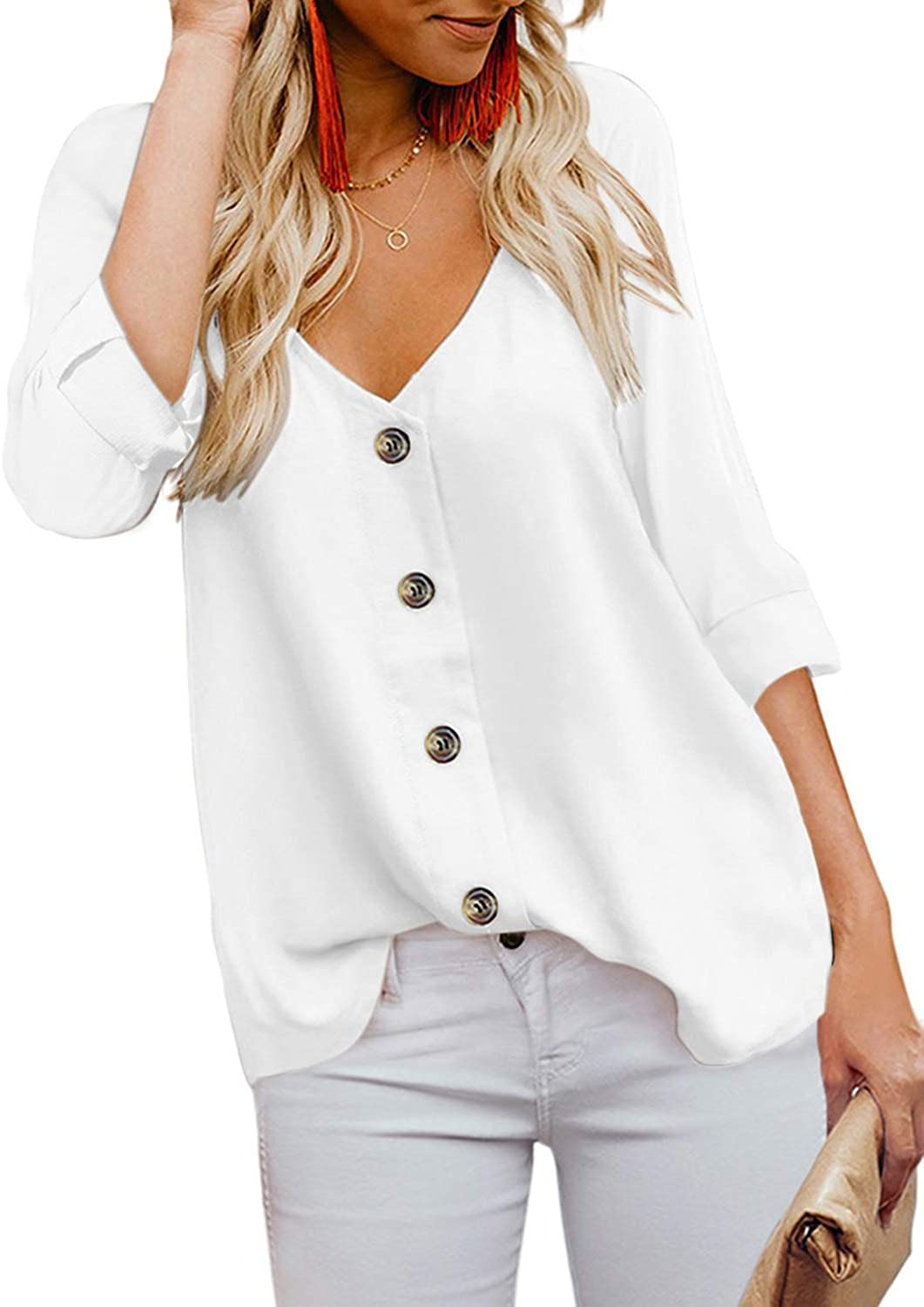 Arainlo Women's V-Neck Button Down Roll Up Sleeves Solid Casual Shirt