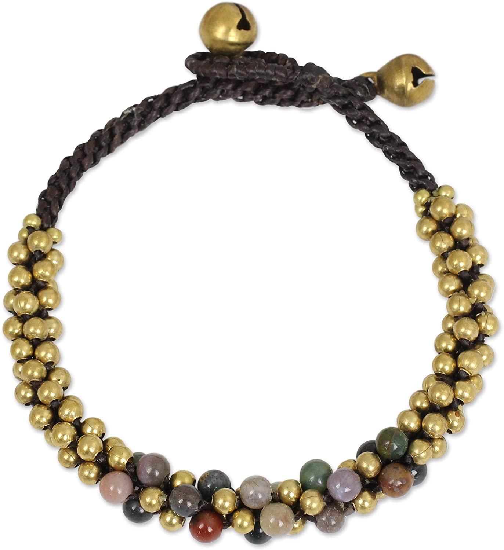NOVICA Jasper Brass Beaded Bracelet, 7