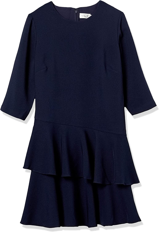 Eliza J Women's Plus Size 3/4 Sleeve Dress with Tiered Ruffle Skirt