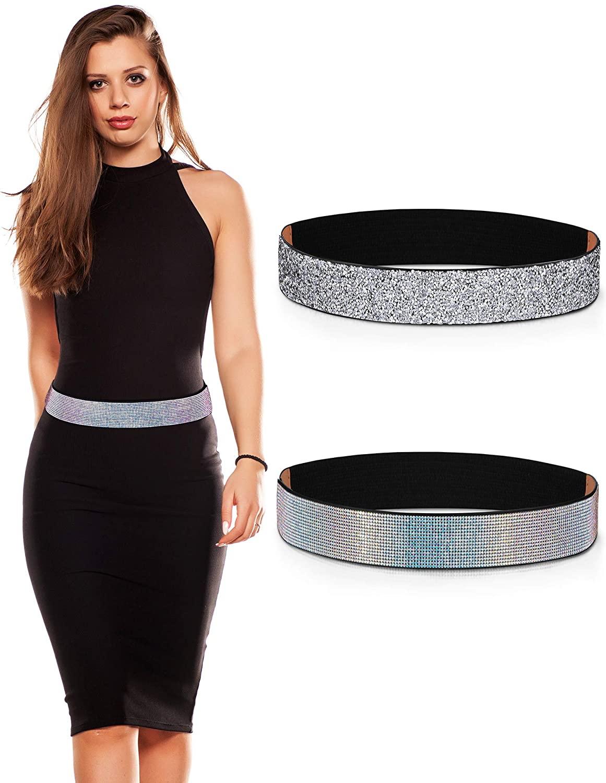 2 Pieces Rhinestones Elastic Waistband Crystal Women Dress Belt Glitter Stretchy Waist Belt