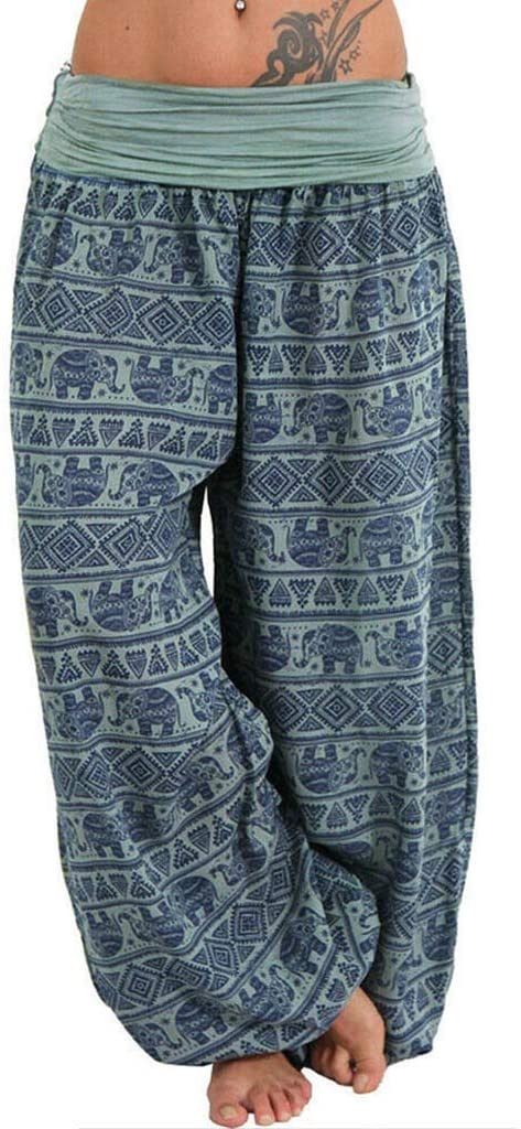 Adeliber Pants for Women Women's Yoga Pants Loose Elasticity High Waist Print Bohemian Aladdin Harem Pants ArmyGreen