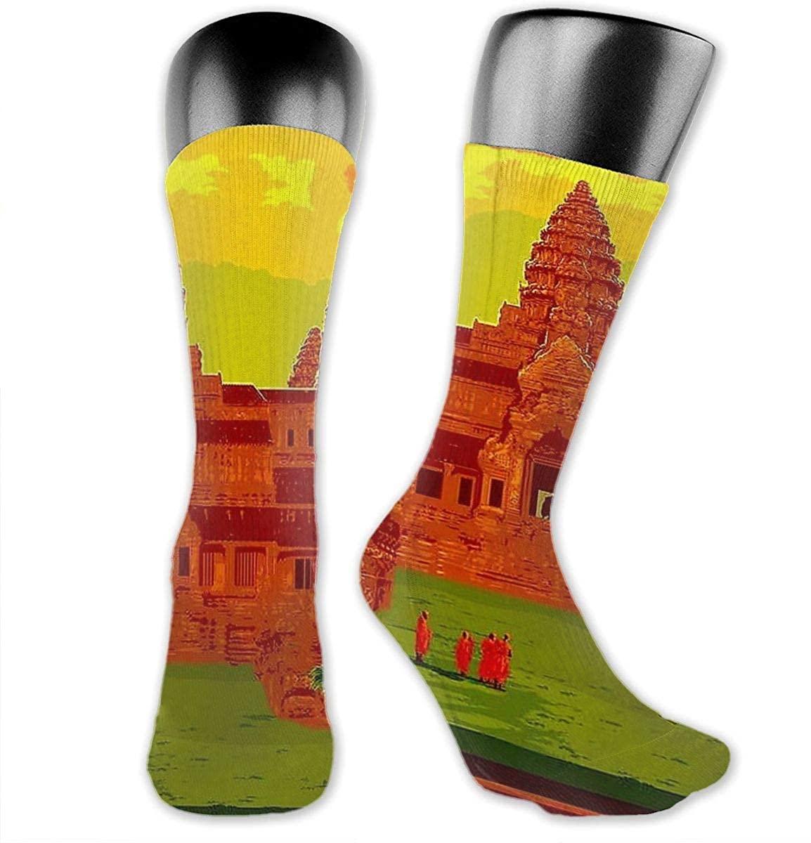 Unisex Crazy Funny Angkor Wat Vintage Cambodia Temple Print Socks Colorful Running Travel Socks Novelty Casual Crew Socks