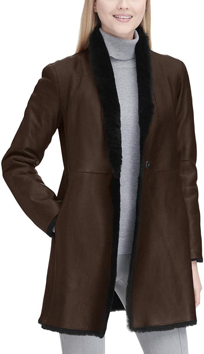 Calvin Klein Womens Lamb Shearling Reversible Leather Coat Black M