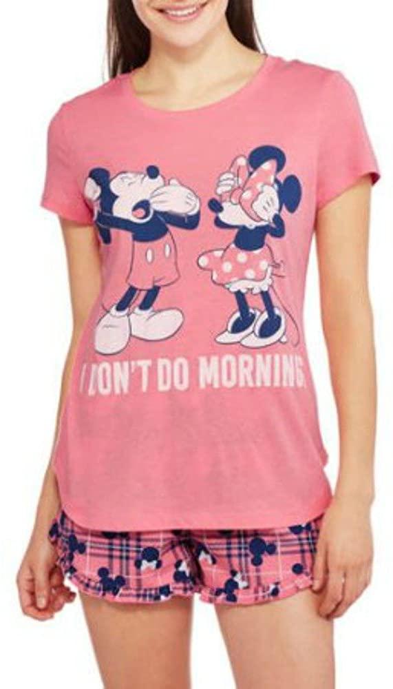 Disney Mickey & Minnie Women's Top and Short 2 Piece Pajama Set (2X (18W-20W)) Pink