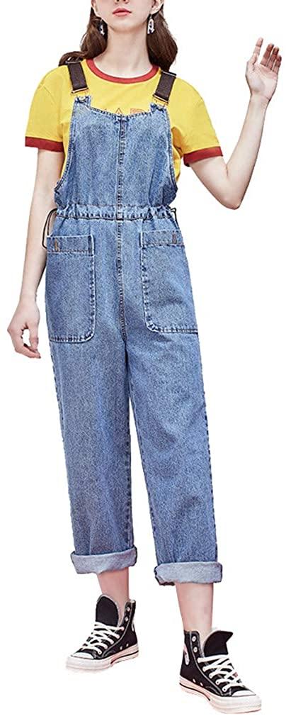 Women's Stylish Denim Bib Overalls Drawstring Waist Casual Jean Jumpsuits