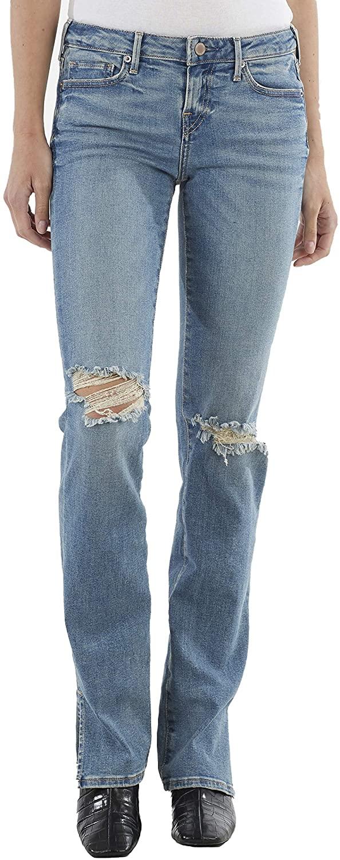 True Religion Women's Billie Split Knee Mid Rise Straight Fit Jean