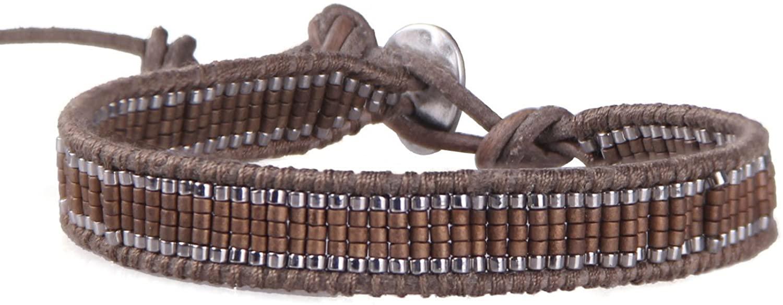 KELITCH Multicolor Seed Beaded Hand-Crafted Loom Leather Cuff Bracelets Unisex Handmade Jewelry