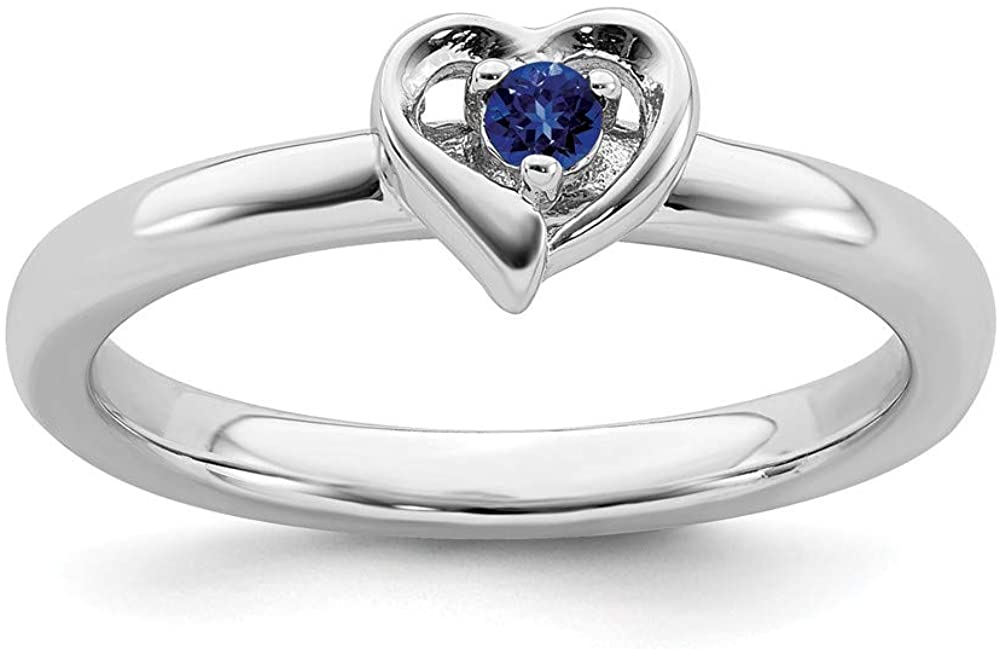 Solid 925 Sterling Silver Stackable Created Sapphire Blue September Gemstone Heart Ring Eternity Band