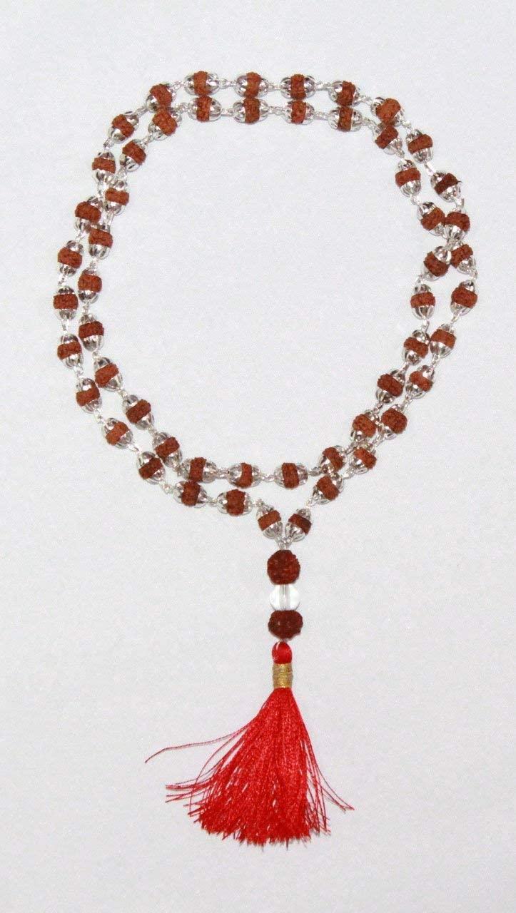 Odishabazaar Rudraksha 5 Mukhi Japa Mala Rosary with Silver Cap 54 Count