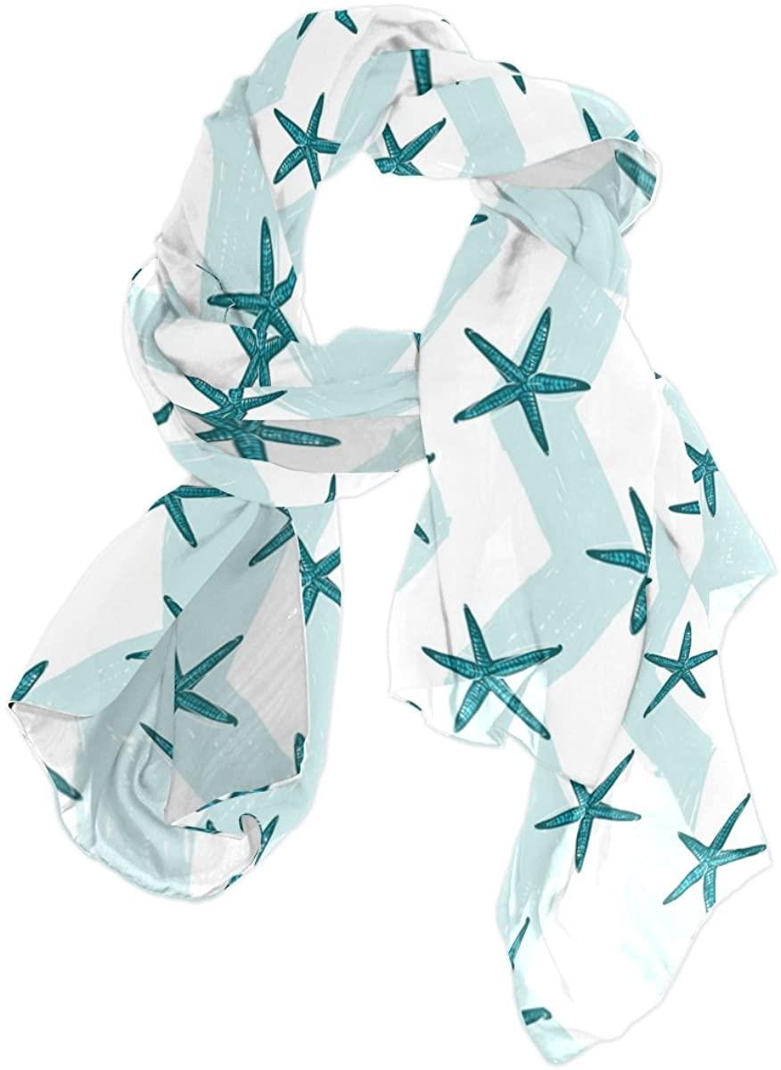 Starfish Chevron Sea Series Print Chiffon Pashmina Shawl Scarf Wrap for Women