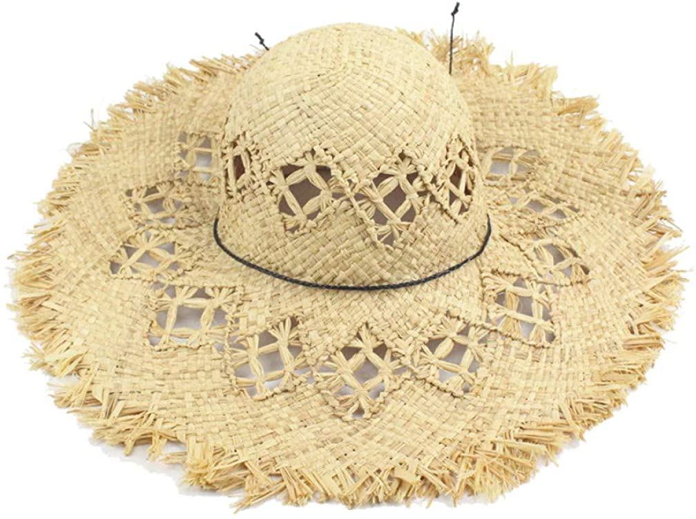 Summer Beach Women Fedora Cap Wide Brim Vacation Floppy Straw Hand Made Straw Hat Raffia