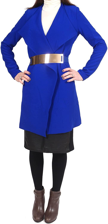 ArynK Women's Long Sleeve Fly Away Collar Blazer Jacket, Illusion Pockets