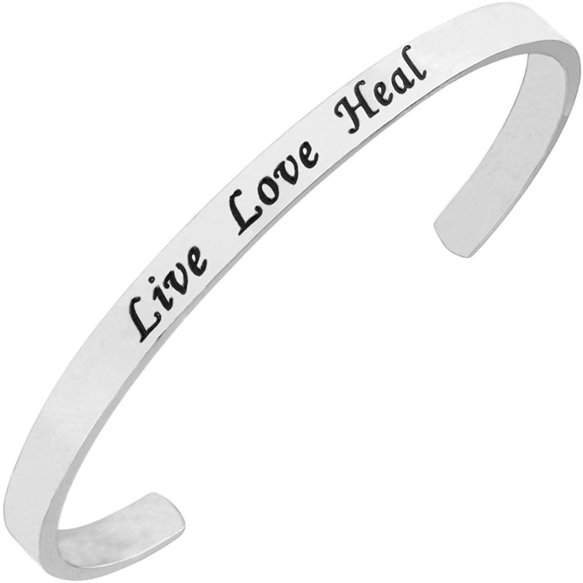 RUNXINTD Nurse Bracelet Live Love Heal Cuff Bracelet Nurse Jewelry for RN,Nursing Graduation Student