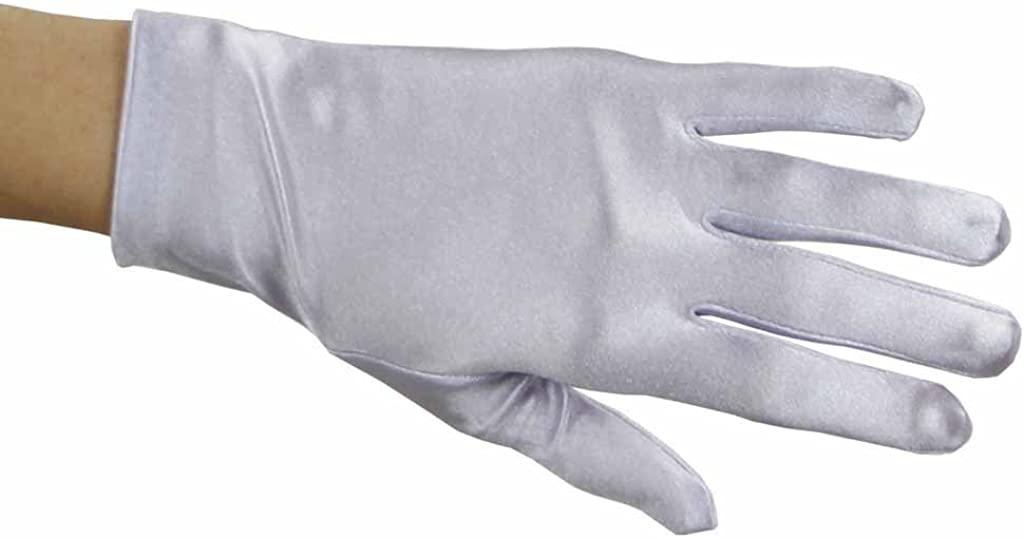Greatlookz Beautiful Wrist Length Short Satin Gloves in Lilac