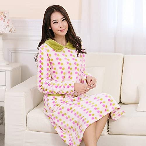 Long Sleeve Women Dress Thicker Warmer Flannel Long Skirt Comfortable Bathrobe Breathable Pajamas,Ms Pink,XXL