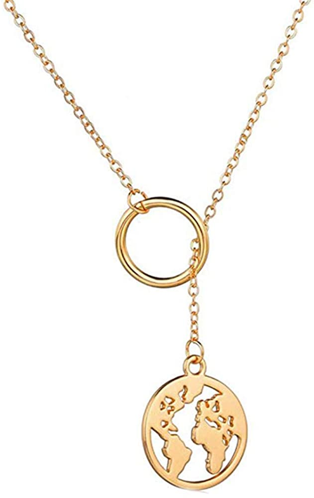 Jeni-Sely Simple Geometric Circle Lariat Y Necklace with Round World Map Necklace