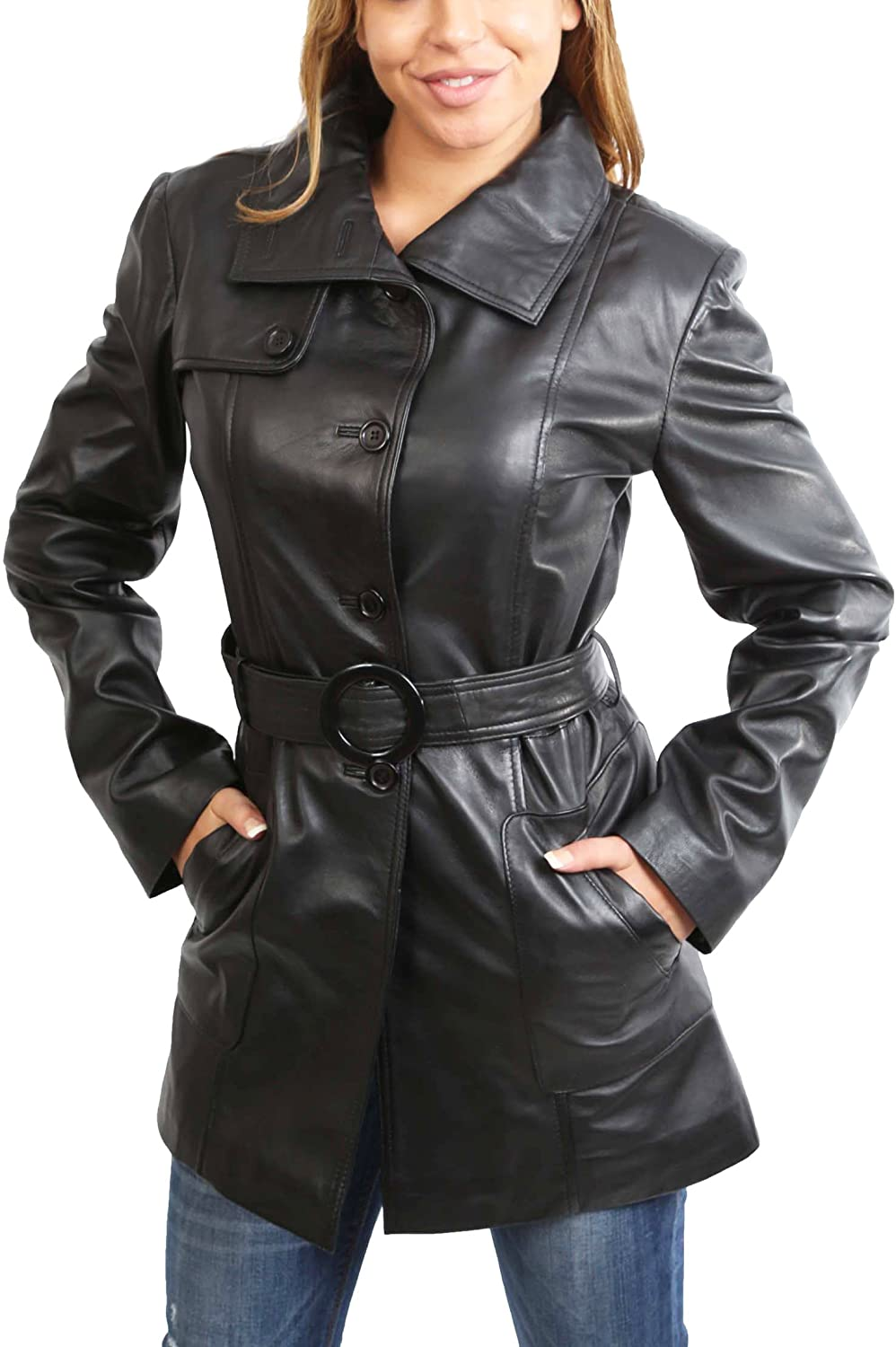 A1 FASHION GOODS Womens Real Leather Black Trench Coat Waist Belt Mid Length Parka Jacket - Alba