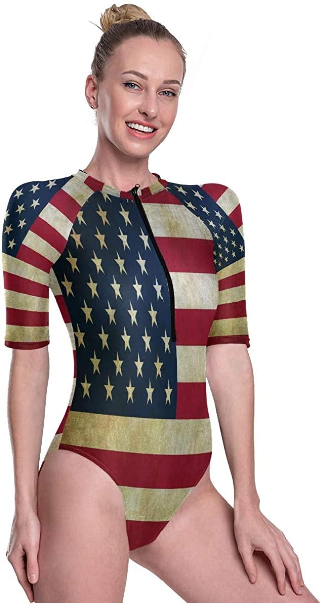 Women's One Piece Short Sleeve Rashguard Surf Swimsuit Vintage Retro American Flag USA Bikini