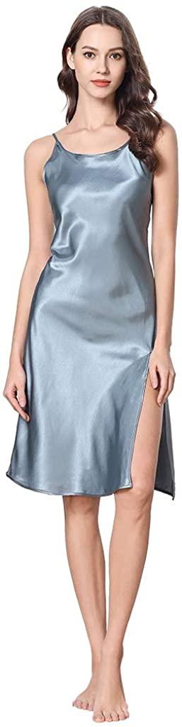 GLVSZ Women Satin Sexy Nightdress Spaghetti Strap Slit Chemise Slip Nightgown