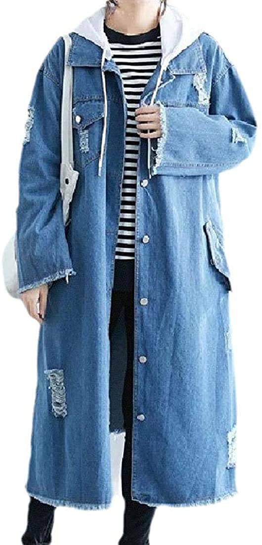 Qhghdgysd Women Overcoat Single Button Mid-Long Baggy Style Hoode Denim Jackets