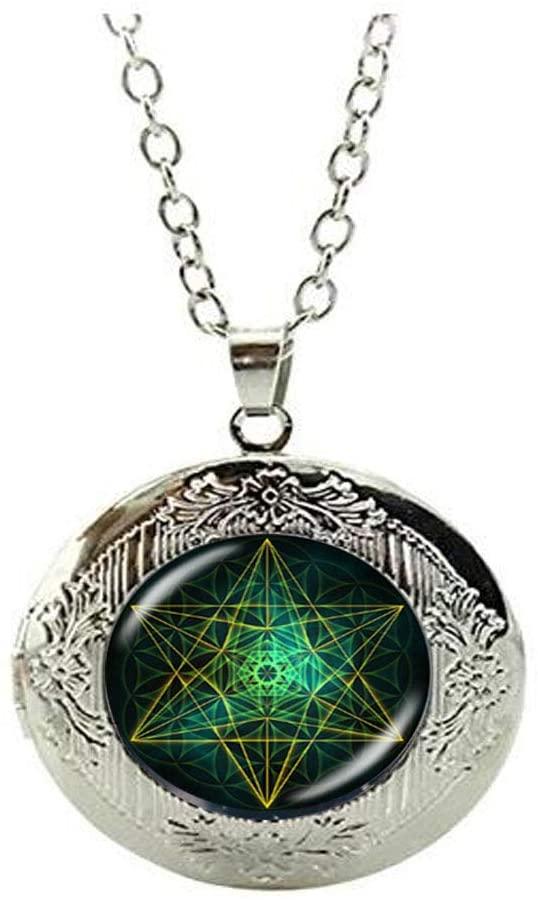 Flower of Life Mandala Geometry Locket Necklace Art Photo Jewelry Birthday Festival Gift Beautiful Gift