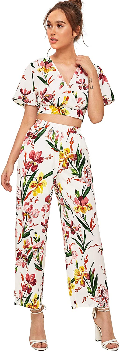 Milumia Women Crop Tops Palazzo Wide Leg Pants Sets Boho Floral Two Piece Outfit
