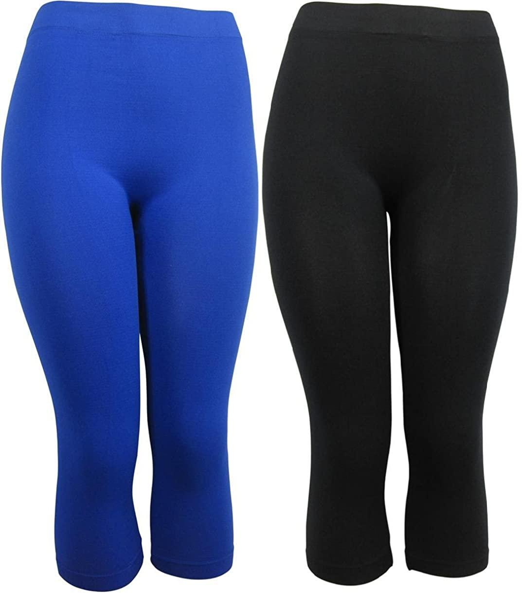 J Ann 2-Piece/Pack Women's Seamless Capri Leggings, Free Size,