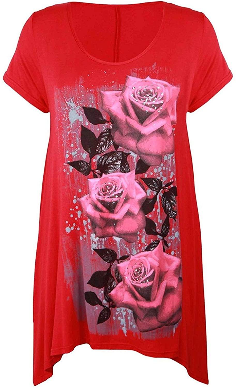 Cima Mode Womens Plus Size Glitter Butterfly Hanky Hem T-Shirt Long Top 12-26