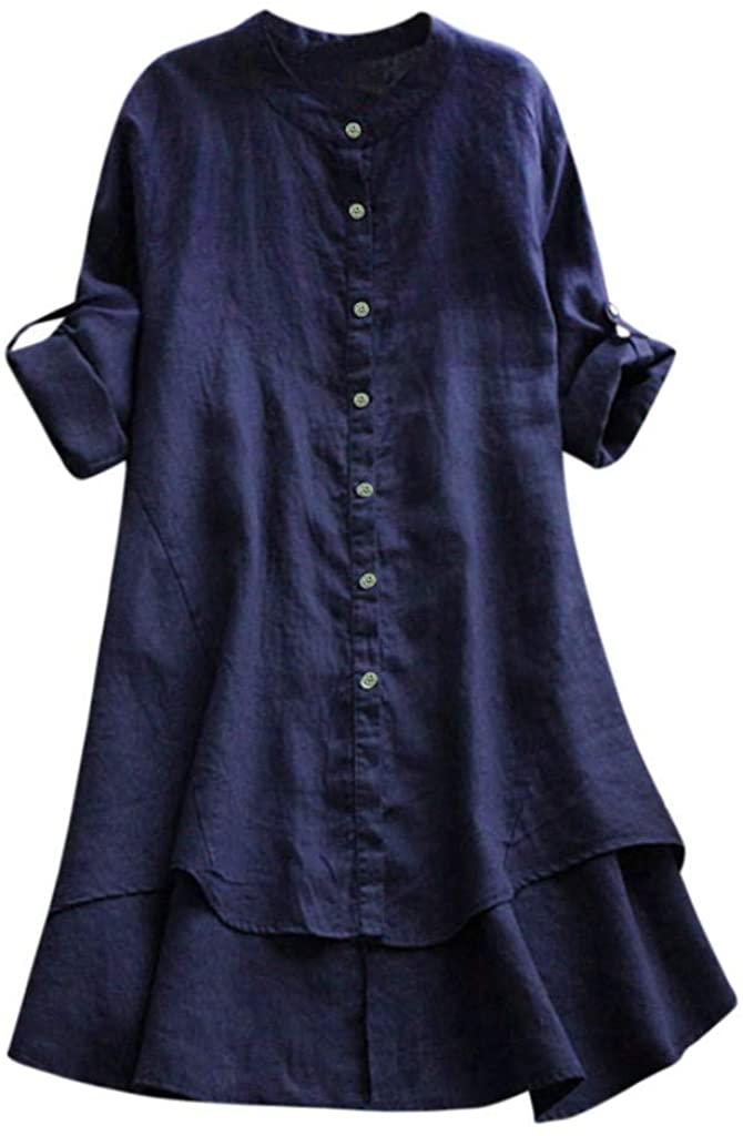 HebeTop Women Button Down Long Blouse Casual Cotton Linen Plus Size Top Shirt Dress