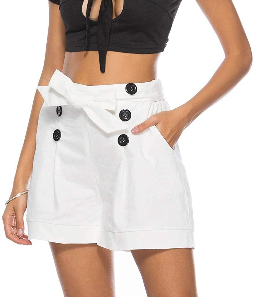 GLVSZ Women High Waist Loose Elastic-Waisted Bermuda Button Casual Shorts